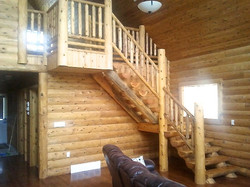 Log Stair, Post and Rail