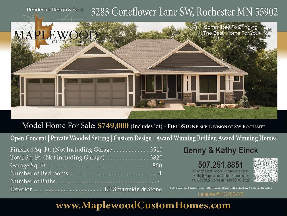 Maplewood Custom Home Builder Direct model home 3283 Coneflower Lane SW, Rochester MN 55902