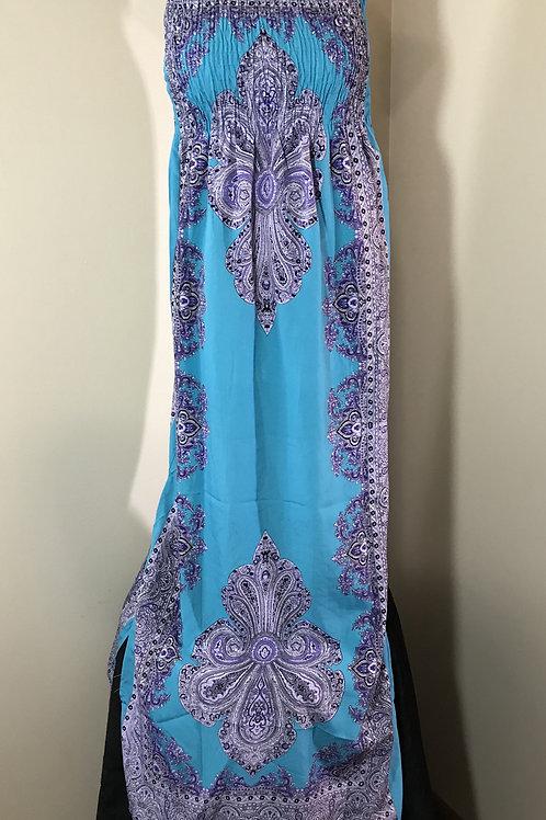Long Blue Tube Dress