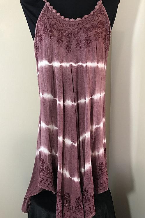 Dusty Rose Beaded Strap Tie Dye Dress