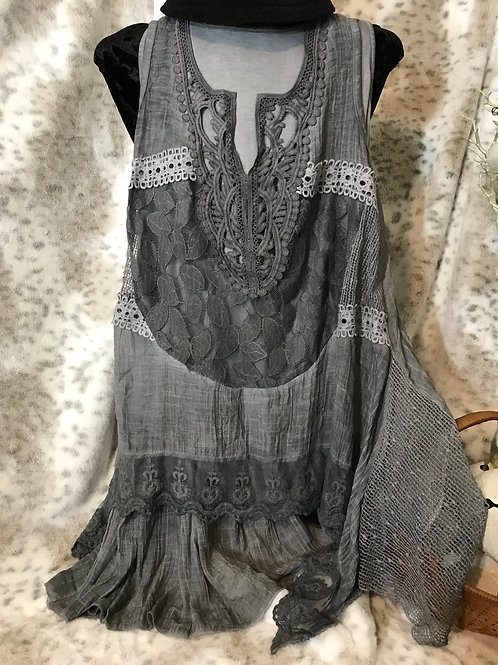 Two Piece Lace Top/Dress - Grey