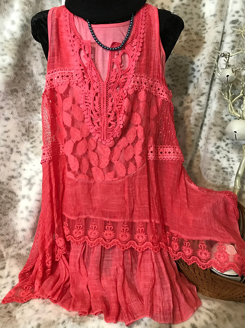 Two Piece Lace Top/Dress - Coral