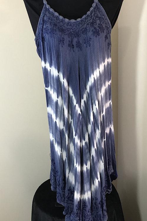 Blue Beaded Strap Tie Dye Dress