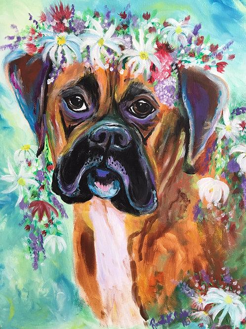Mastiff with Flowers