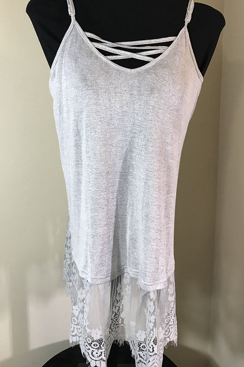 Silver Lace Up Tank Top