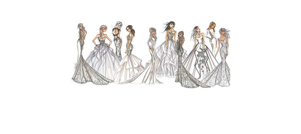 Fashion illustraion, sketch, bridal gown sketch, painting, acrylic painting, artist, illustrator, Sabrina Toy