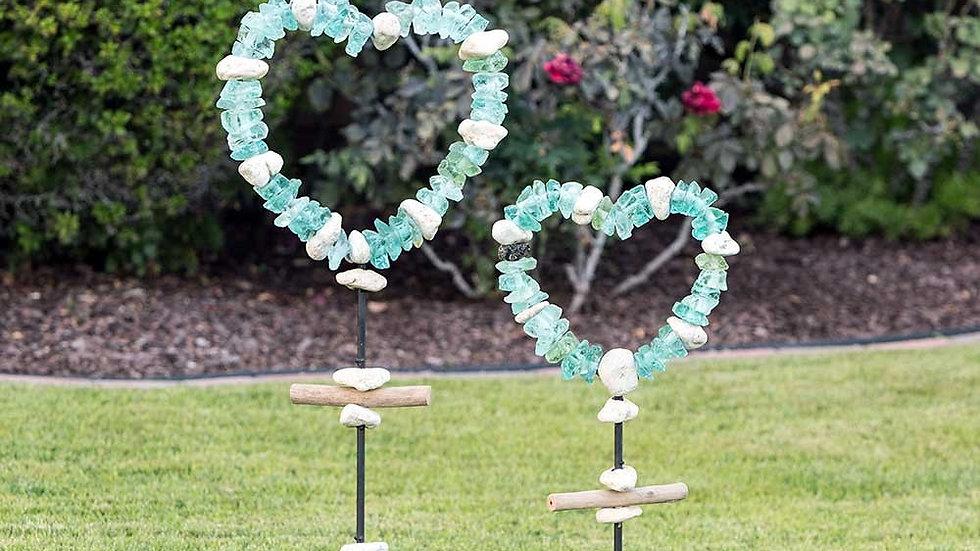 Beach Glass Heart Sculpture