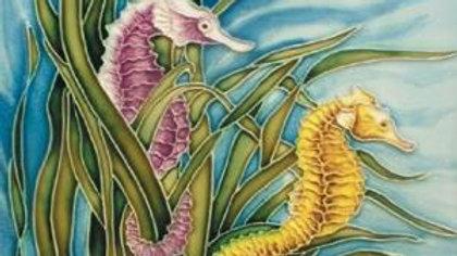 Art On Tile Seahorse Twin 8 x8