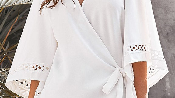 Flared Sleeve Knot Blouse