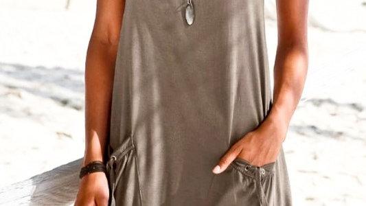 Sleeveless Layered Front Pocket Midi Dress