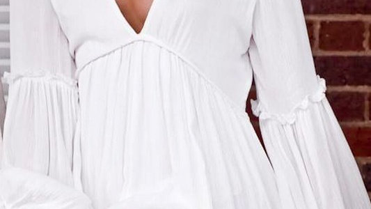 Puff Sleve Ruffle Detail V Neck Loose Fit Dress