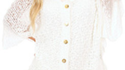 Bell Sleve Button Front Popcorn Cardi