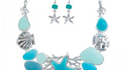 Periwinkle Sea Life Chunky Necklace
