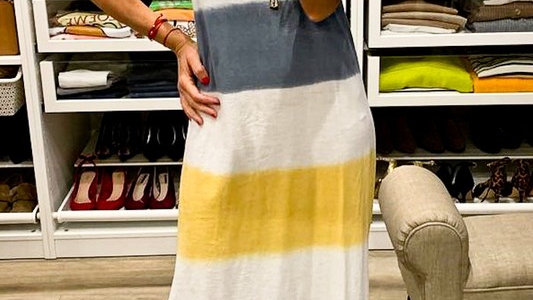 Sleeveless Multi Color Dip Dyed Maxi Dress