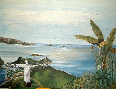 Painted Guanabara view, Paris, Rio de Janeiro, Brazil, peintures décoratives, decorative paintings, Odile Dardenne, odiledardenne.com, trompe-l'oeil,