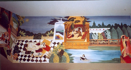 Bedroom, Kamasutra, Bahia, Salvador,Brazil, peintures décoratives, decorative paintings, Odile Dardenne, odiledardenne.com, trompe-l'oeil,