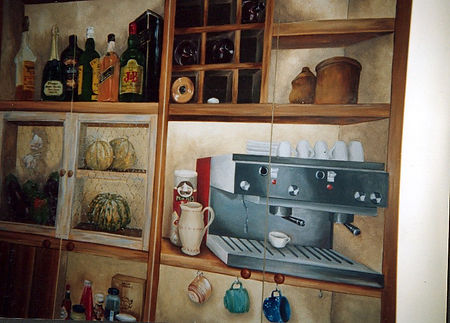 Kitchen doors in trompe-l'oeil, Recife, Boa Viagem, Pernambuco, Brazil, peintures décoratives, decorative paintings, Odile Dardenne, odiledardenne.com, trompe-l'oeil,