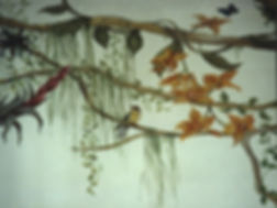 Mural paintings, Jardim Botânico, Rio de Janeiro, Brazil, peintures décoratives, decorative paintings, Odile Dardenne, odiledardenne.com, trompe-l'oeil,