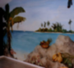 Fresco, tropical landscape, Angra dos Reis, Rio de Janeiro, Brazil, peintures décoratives, decorative paintings, Odile Dardenne, odiledardenne.com, trompe-l'oeil,