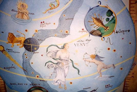 Ceilling in trompe-l'oeil, Astrology, Recife, Boa Viagem, Pernambuco, Brazil, peintures décoratives, decorative paintings, Odile Dardenne, odiledardenne.com, trompe-l'oeil,