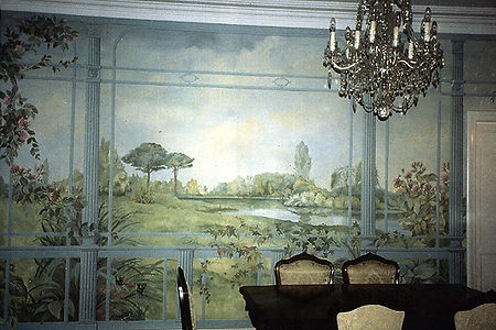 Landscape in dining room, Leblon, Rio de Janeiro, Brazil, peintures décoratives, decorative paintings, odile dardenne, odiledardenne.com, trompe-l'oeil,
