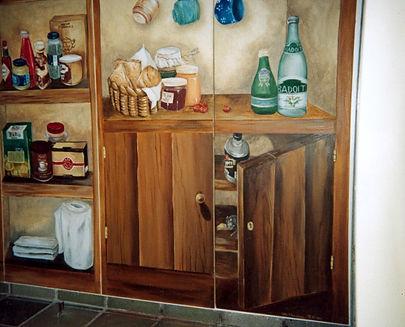 Kitchen doors in trompe-l'oeil, Recife, Boa Viagem, Pernambuco, Brazil, peintures décoratives, decorative paintings, Odile Dardenne, odiledardenne.com, trompe-l'oeil,