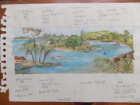 Geribapaintings - Odile Dardenne - Sea & River landscape on Canvas - 300 X120 - Toquinho, Pernambuco - Brazil
