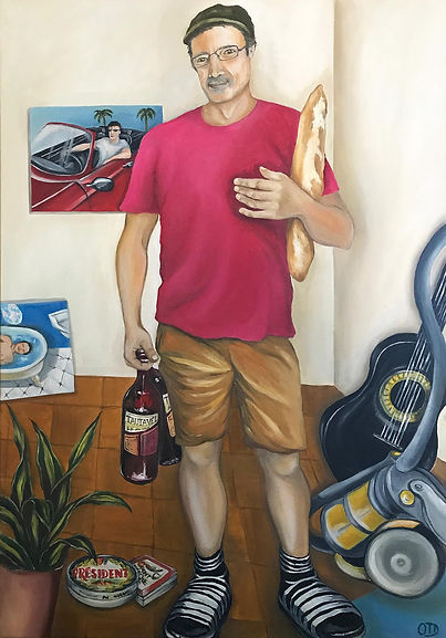 François, claquettes, Rue Lacépède, portrait, lisbon, portugal, painting, portrait painting