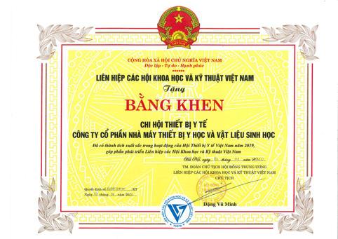 Bằng khen của Liên hiệp các Hội KH&KT Việt Nam