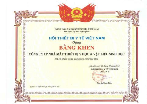 Bằng khen của Hội TBYT Việt Nam