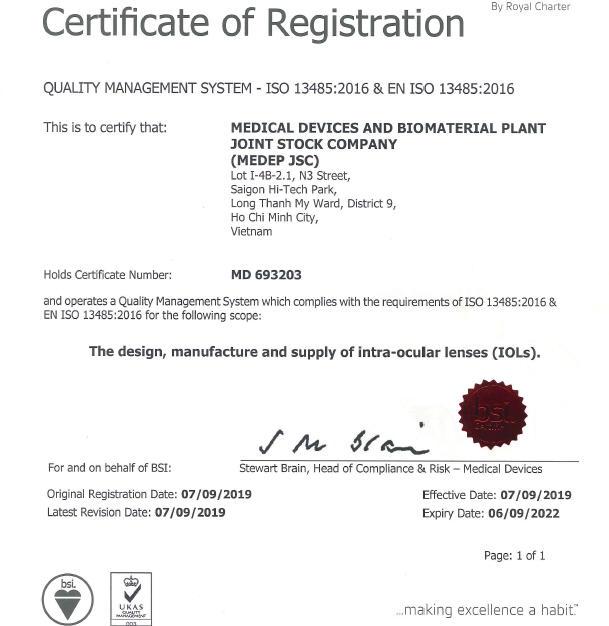 EN ISO13485:2016 - IOLs