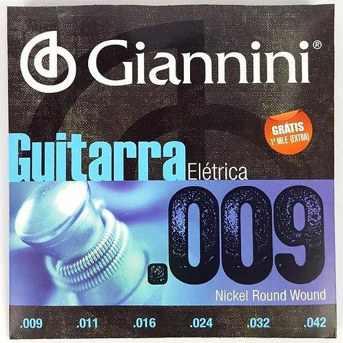 Encordoamento Guitarra Giannini 09 Nickel