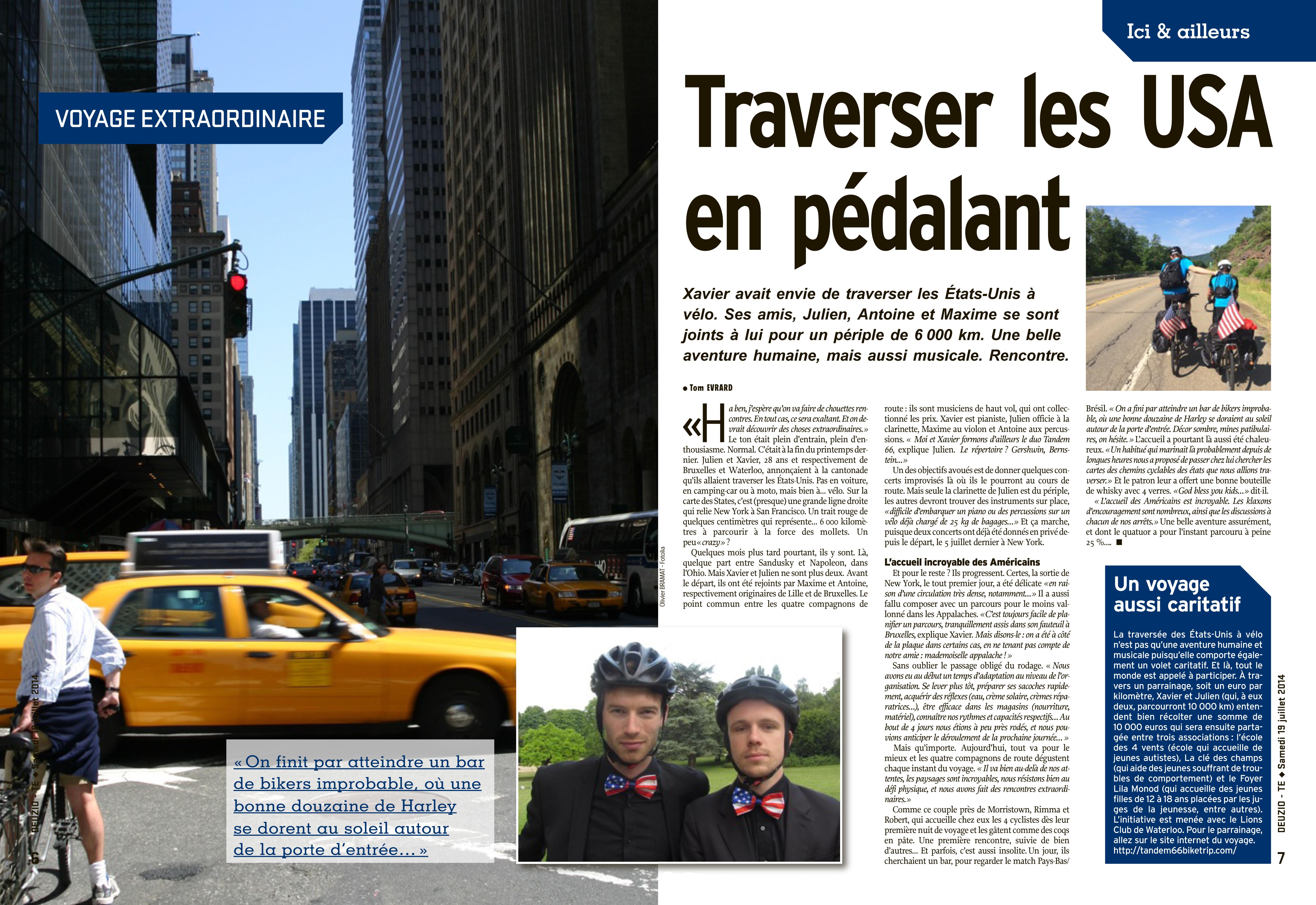 Journal L'Avenir du 19/7/2014