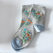 Grey Flower Socks