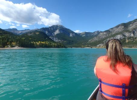 Canoeing Barrier Lake in Kananaskis, Alberta