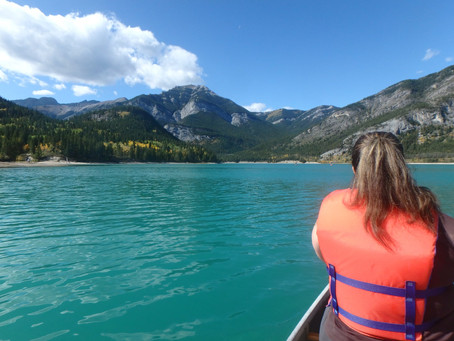 Canoeing Barrier Lake in Kananaskis, Alberta
