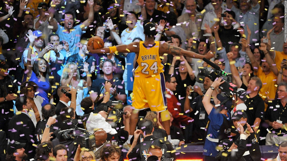 Kobe Bryant, 24, winning his fifth championship