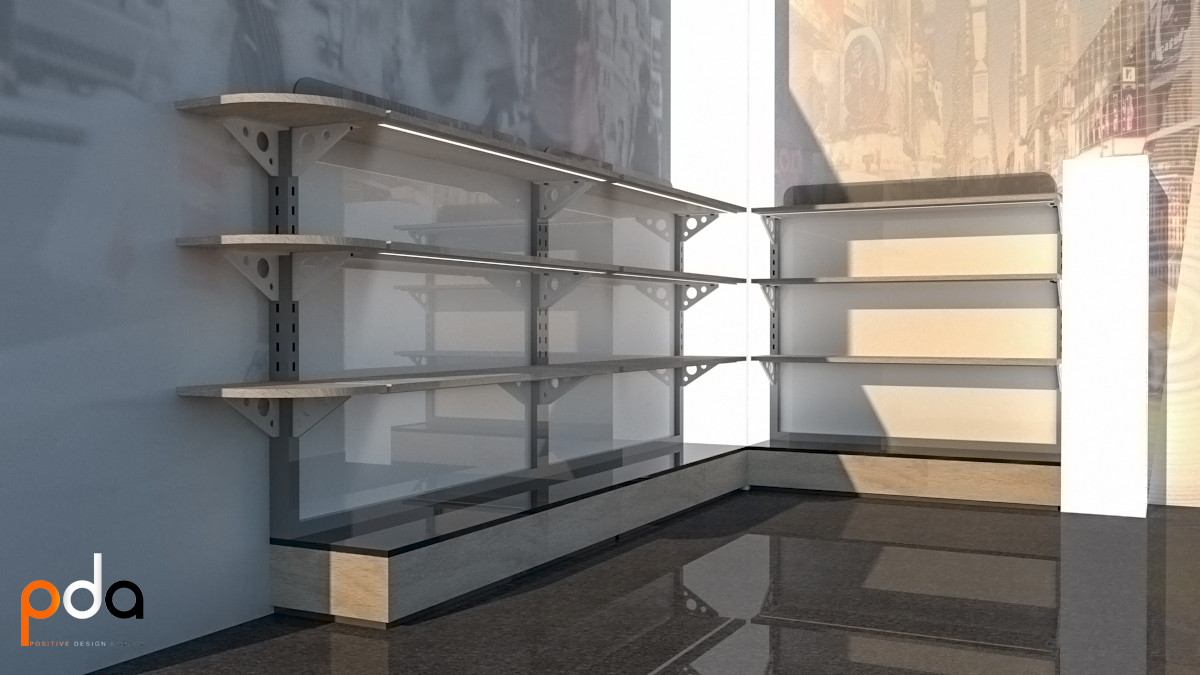 short floorstand-wall unit
