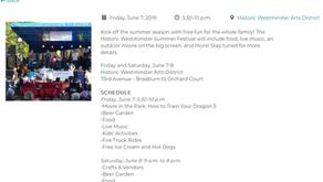 Friday June 7th, 5-10 pm, Westminster Summer Festival