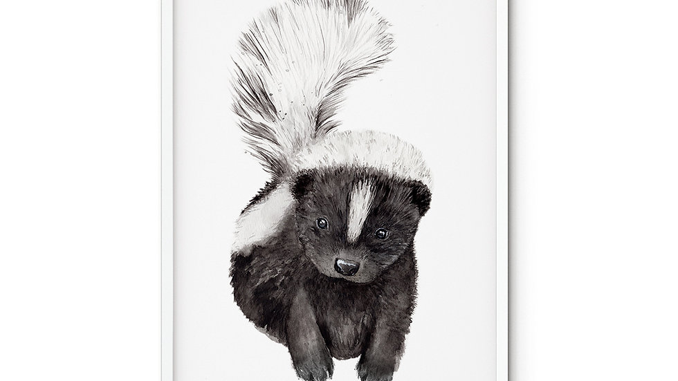 Water colour Print Skunk Baby A5