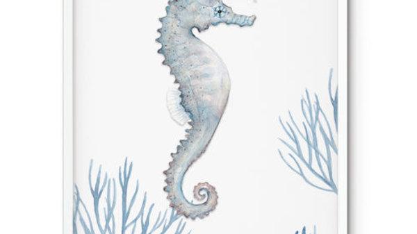 Water colour Print Seahorse Coral A5