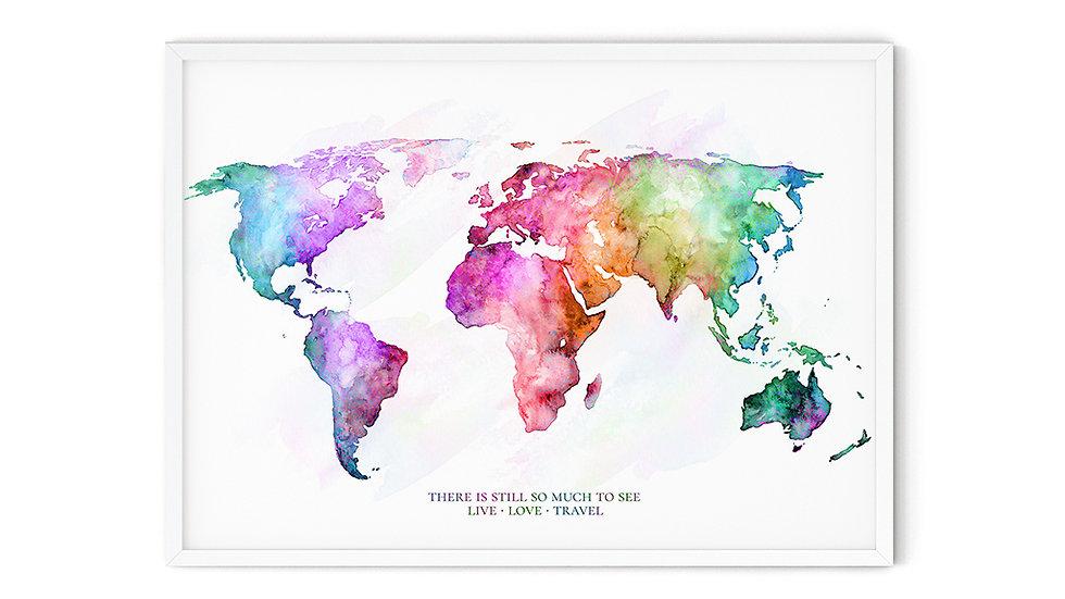 Water colour Print Hello World A4