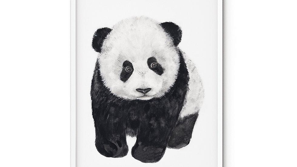 Water colour Print Panda Baby A5