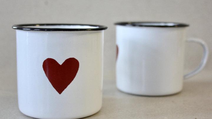 Big heart Enamel cup