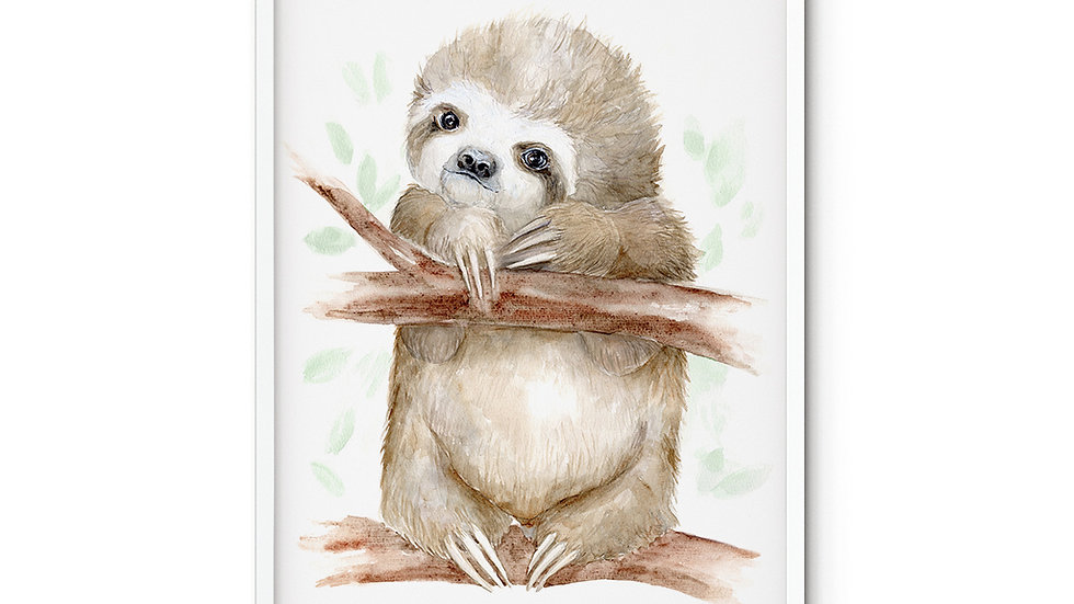 Water colour Print Sloth Baby A4