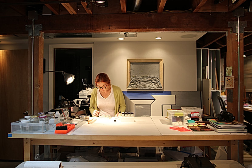 Ria German-Carter, art conservator in studio