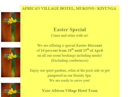 """Oster-Special"" im African Village Hotel"