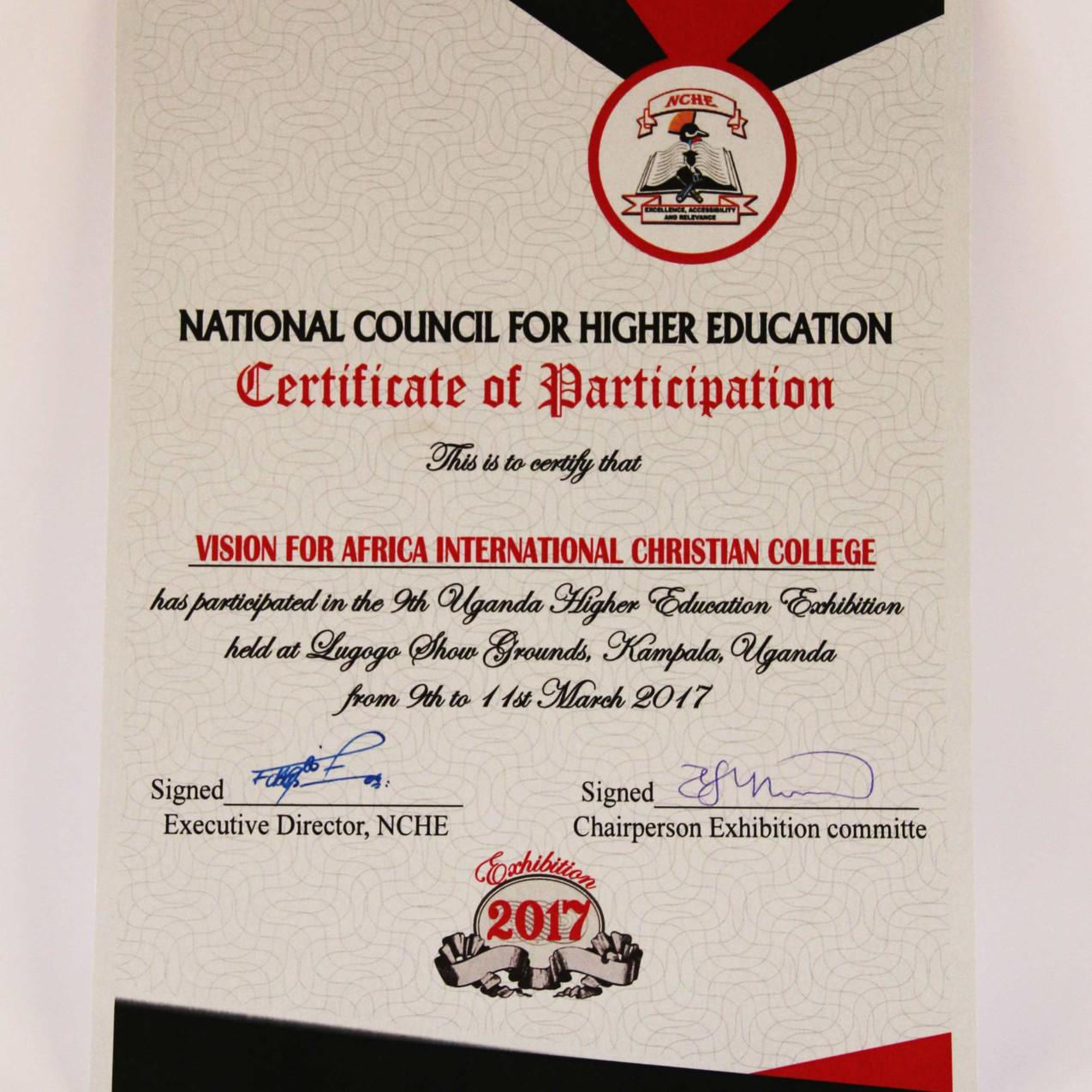 Zertifikat zur Teilnahme