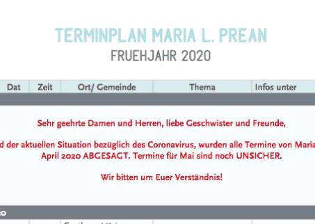 Maria Preans Europa Termine abgesagt bzw. unsicher