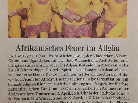 Zeitungsartikel: Vision Choir Ankündigung für den Allgäu